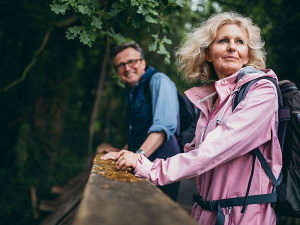 senior couple on nature walk